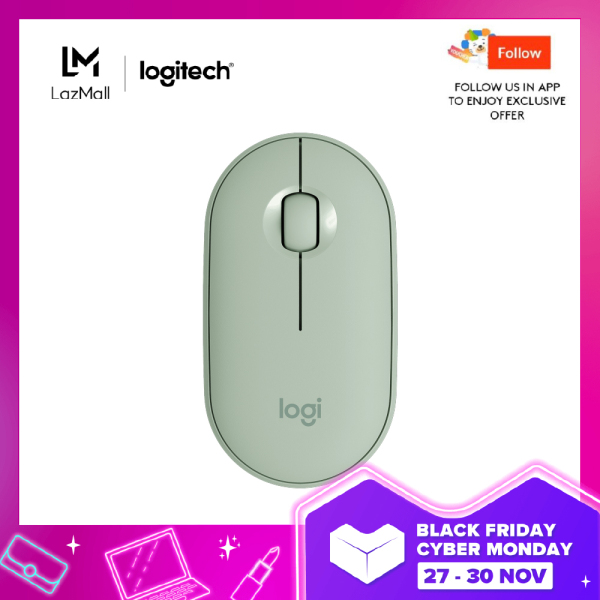 Logitech Pebble M350 Wireless Mouse with Bluetooth or USB - Silent, Slim Computer Mouse with Quiet Click for Laptop, Notebook, PC and Mac