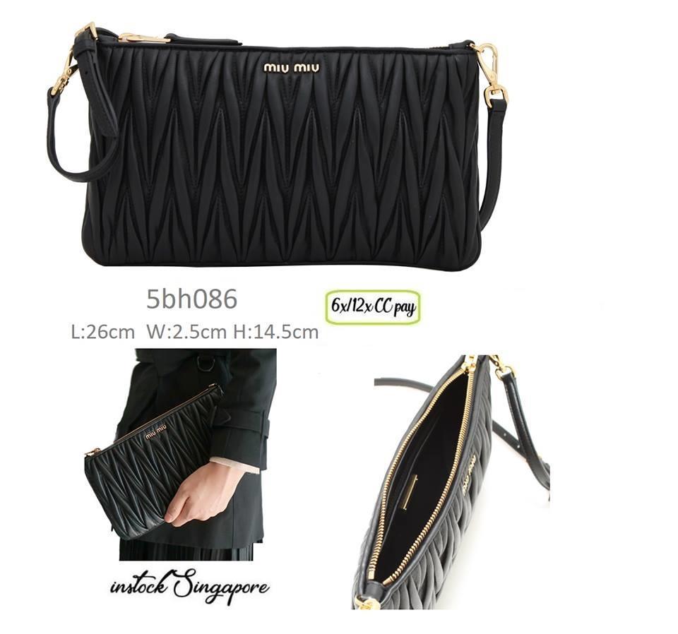 884524261b2 Singapore. Authentic Miu Miu 5BH086 Matelasse Leather Clutch