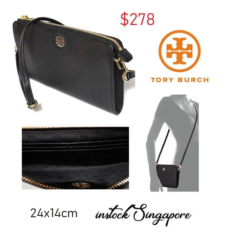 5515db7f545 Tory Burch Brody Pebbled Wallet Crossbody Bag Black 100% authentic purchase  from Tory Burch shop