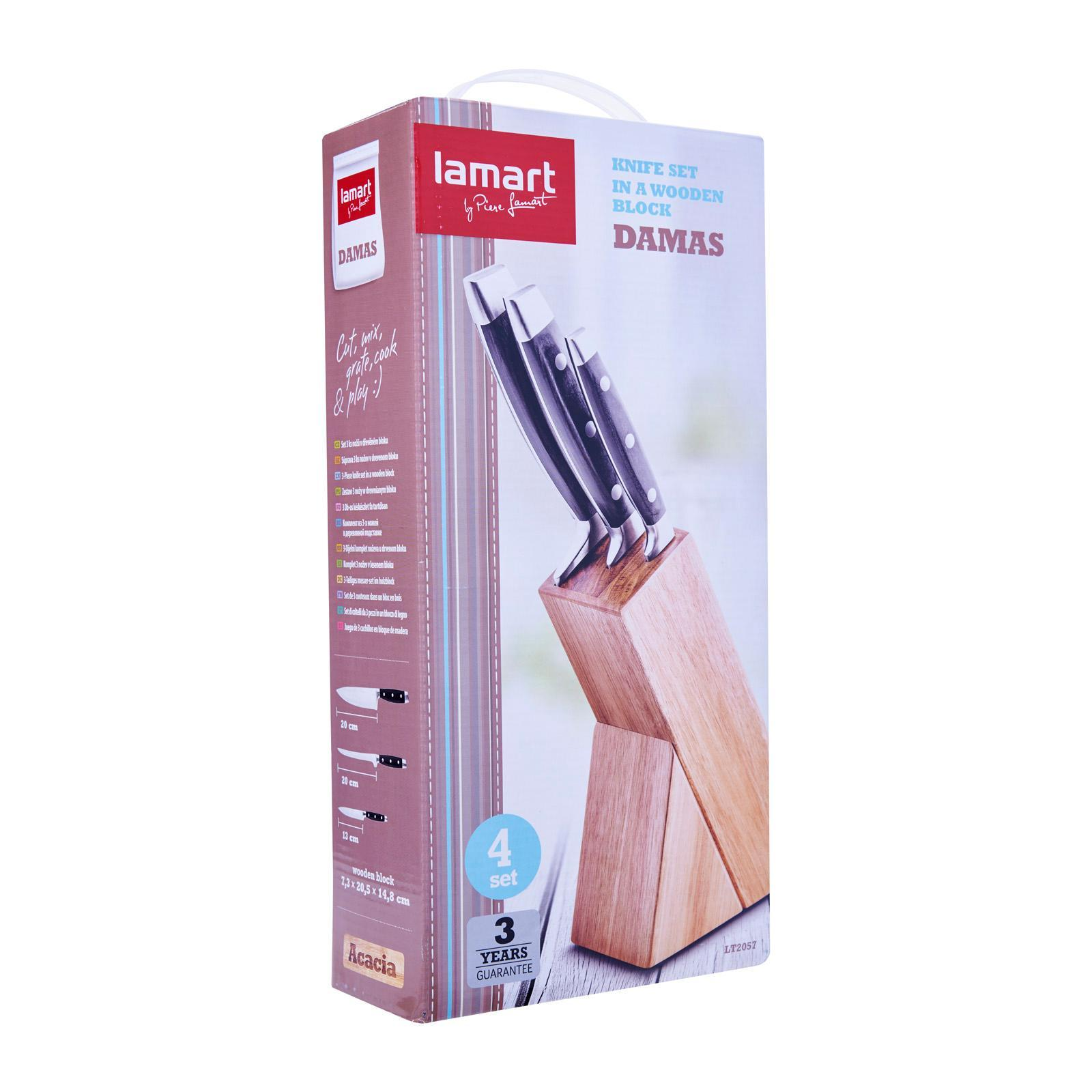 Lamart Stainless Steel Knives And Bamboo Wood Block Set 4 Pcs