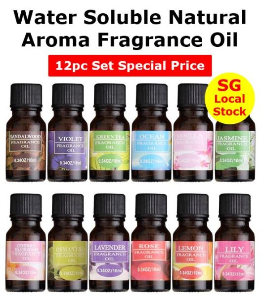 Buy Natural Aroma Fragrance Oil Aromatherapy 10ml (Water Soluble) for Air Humidifier Diffuser Oil Burner Purifier Singapore