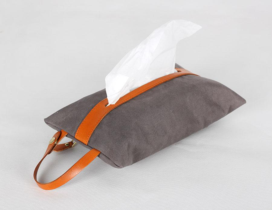 [SG Seller] Tissue Holder / Canvas Tissue Box / Leather Strap