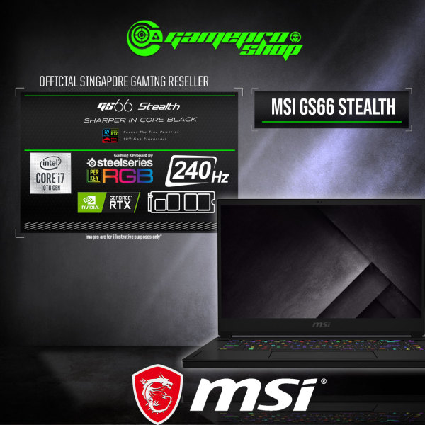 [Express Delivery] MSI GS66  Stealth 10SE Gaming Laptop (i7-10875H/16GB DDR4/1TB SSD/6GB NVIDIA RTX2060 GDDR6/15.6.FHD 240Hz /W10) -10SE-640SG (2Y)