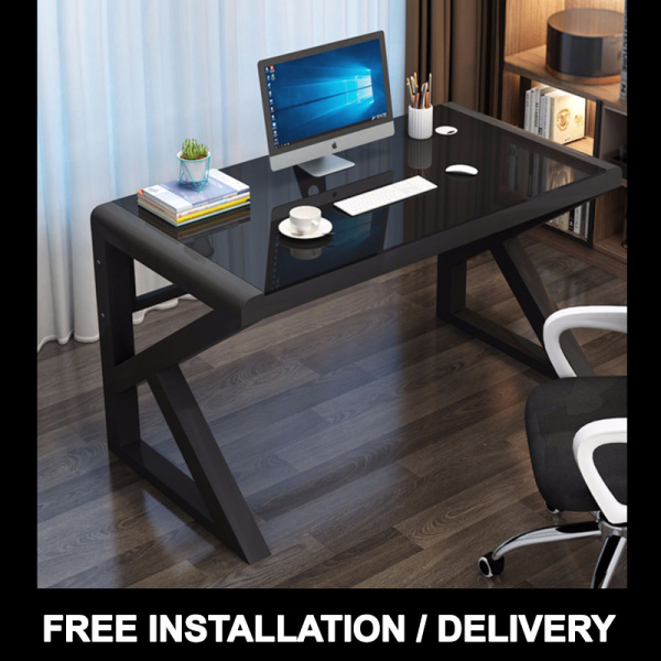 3C Tempered Glass Smooth Finishing Computer Professional Gaming Study Table Desk Minimal Minimalist Monochrome White Black Office [FREE INSTALLATION/DELIVERY WITHIN 3 WEEKS]