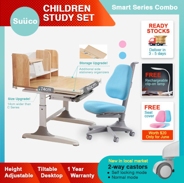 Suuco Smart Series Combo | Study Table and Study Chair For Kids | Study Desk and Study Chair for Children | Height Adjustable Study Table and Chair for Children | Height Adjustable Study Desk and Chair for Kids