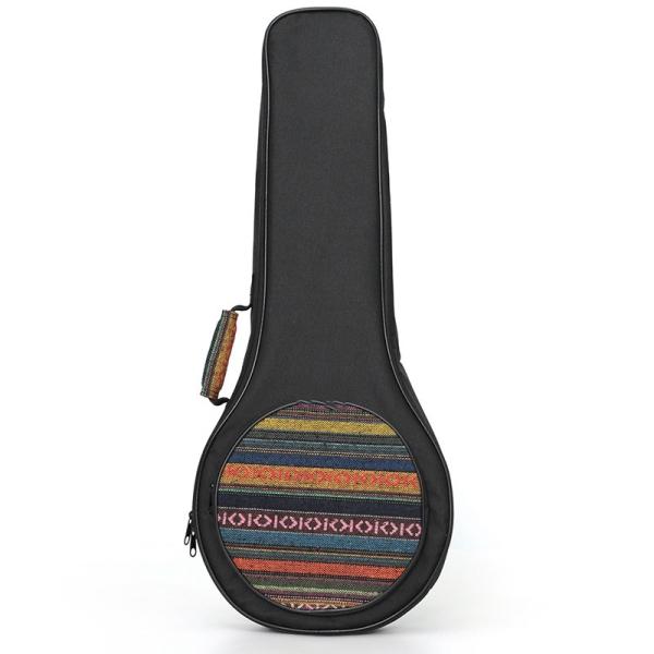 Longteam Ethnic Style a Shape Mandolin Bag for Mandolin Thicken Shoulder Gig Bag Case Frabic Black