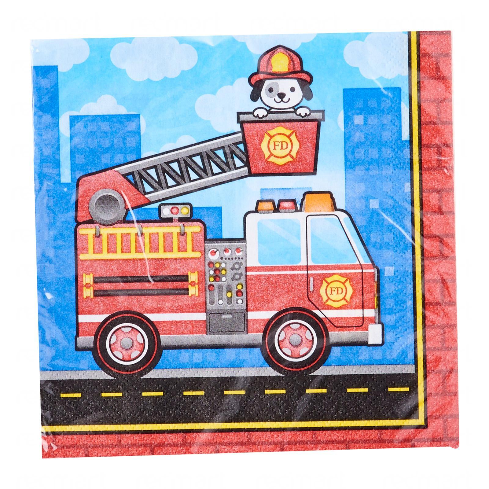 Creative Converting Flaming Fire Truck Lunch Napkins Pack