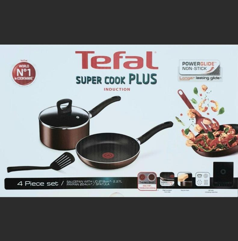 Tefal Induction Set of 4 18 cm pan with lid and 24 cm frypan with spatula Singapore