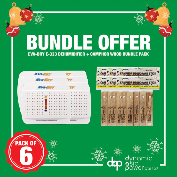 [6 PIECES SPECIAL BUNDLE] EVA DRY Mini Dehumidifier E333 + Camphor Wood Bundle Singapore