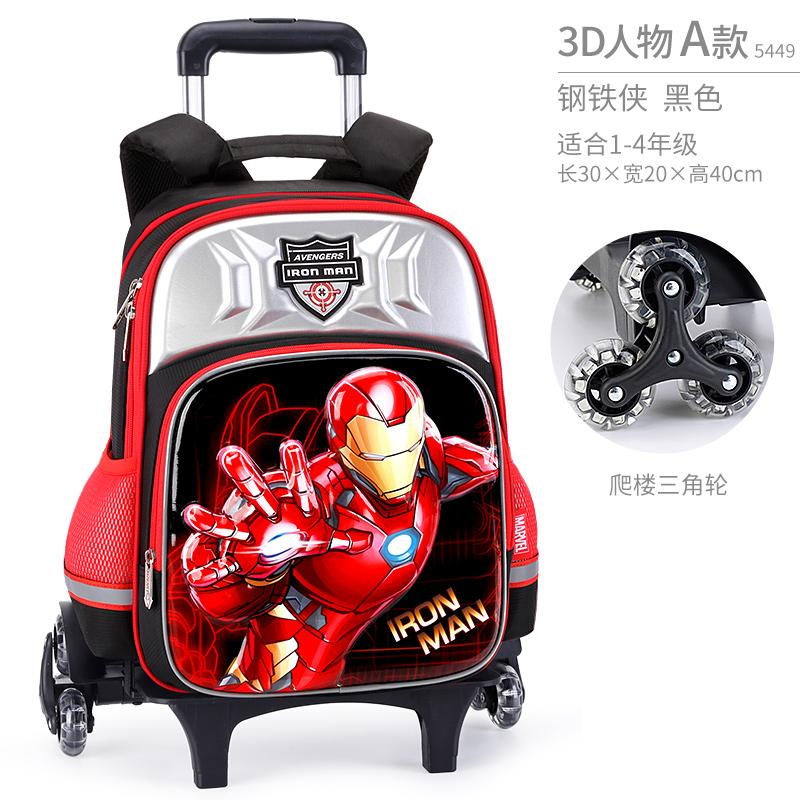 Disney Trolley Bag Young Students Boys 1-3-4 Grade America Captain 3 round Stair-Climbing Children Backpack