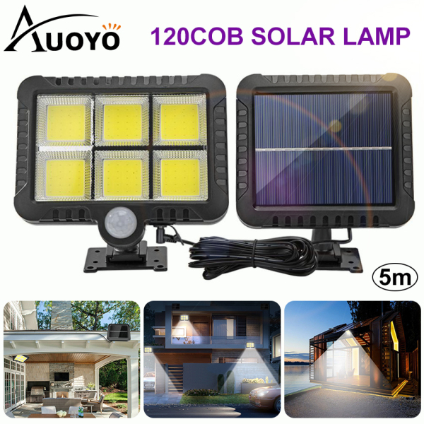 Auoyo Solar Wall Light Outdoor Lighting Motion Sensor COB LED Solar Light Waterproof Street Lamp Induction Wall Lamp for Garden Courtyard
