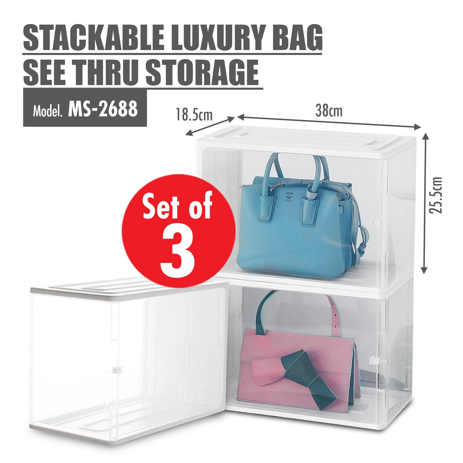 [Set of 3] HOUZE - Stackable Luxury Bag See Thru Storage (Dim: 38x18x25.5cm)