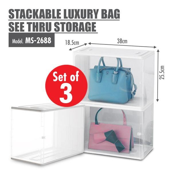 [Set of 3] HOUZE - Stackable Luxury Bag See Thru Storage (Dim: 38x18x25.5cm)