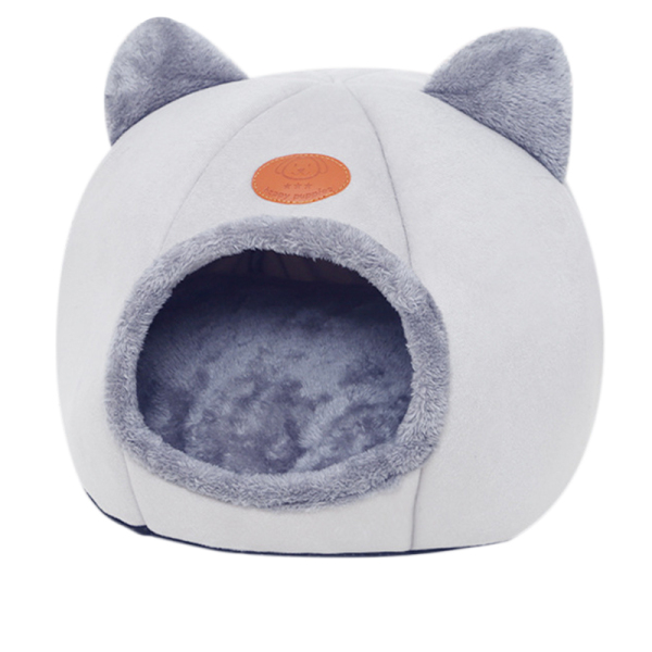 Pet Bed Dog Cat Semi-Closed Cave Tent Warm Plush Sleeping Comfortable Nest