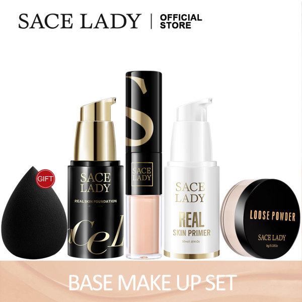 Buy SACE LADY Natural Makeup Set Daily Face Base Cosmetics Kit Foundation Concealer Primer Face Powder Make Up Bundle [Full Cover,Brightening,No Sticky,Long-lasting,Sweat-proof] Singapore