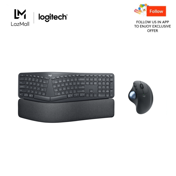 Logitech Ergo K860 Wireless Split Keyboard + Logitech ERGO M575 Wireless Trackball with Smooth Tracking Singapore