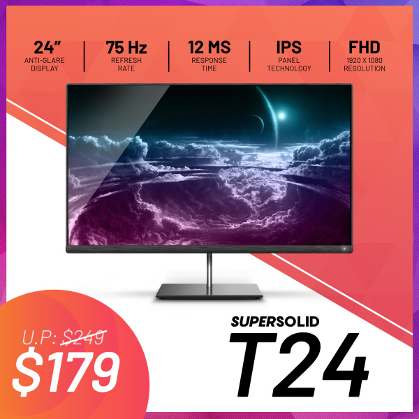 SuperSolid T24 24 FHD [1920 x 1080] IPS 75Hz 12ms Flat Screen Monitor