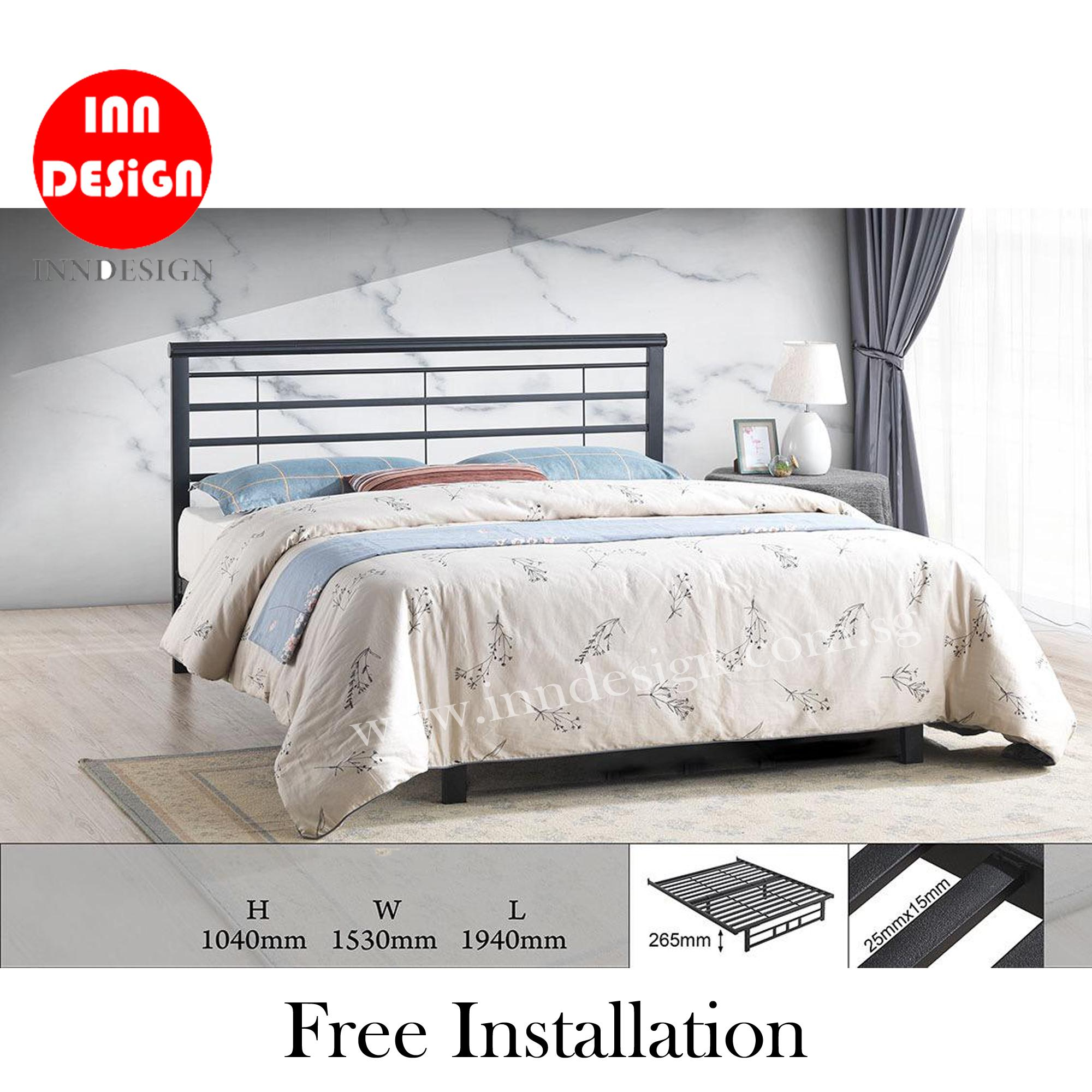 [6 Months Warranty] Emie Solid Queen Bedframe / Metal Bedframe (Free Delivery and Installation)