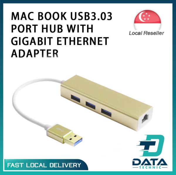 MAC BOOK USB3.0 3 PORT HUB WITH GIGABIT ETHERNET ADAPTER