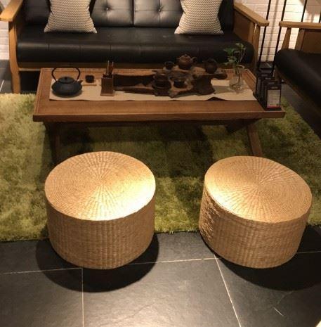 Handmade Papyrus throw pillow Meditation Buddha Thick Tatami Futon throw pillow round Thick Straw Boutique