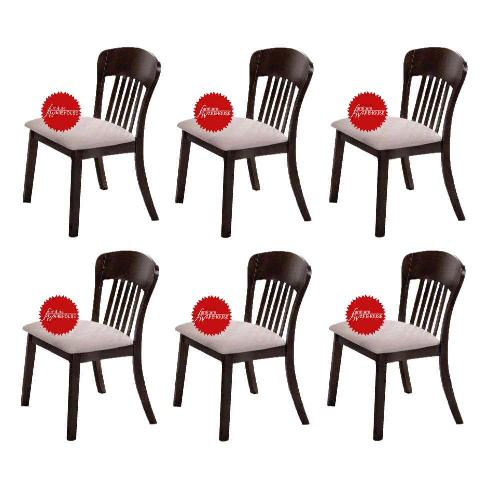 BUNDLE OF 6PCS - Shane Solid Wood Cushion Seat Dining Chair