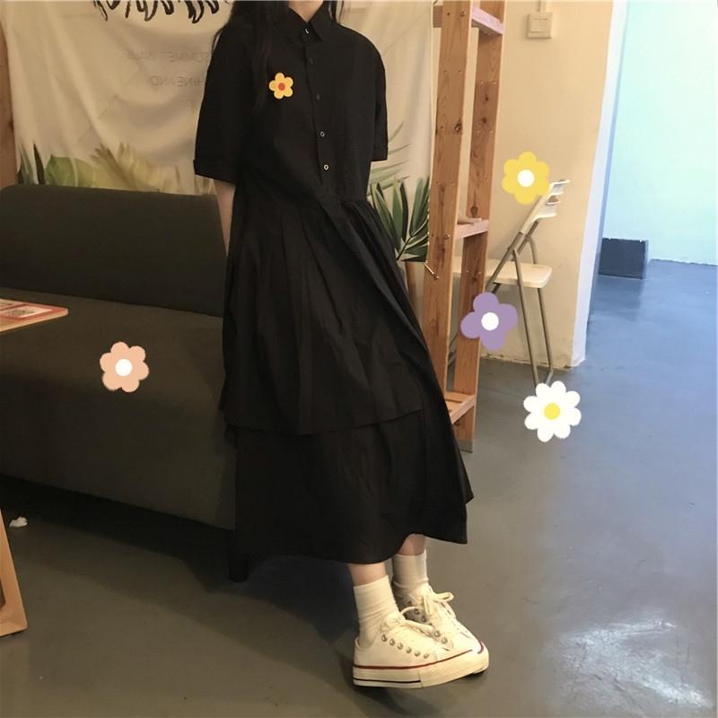 Xuân Hè Mẫu Mới Của Phụ Nữ Hua Ya Feng Váy Ins Giống Nàng Tiên Kiểu Pháp Váy Đen Dáng Dài Qua Đầu Gối Phong Cách Mori Đầm Học Sinh