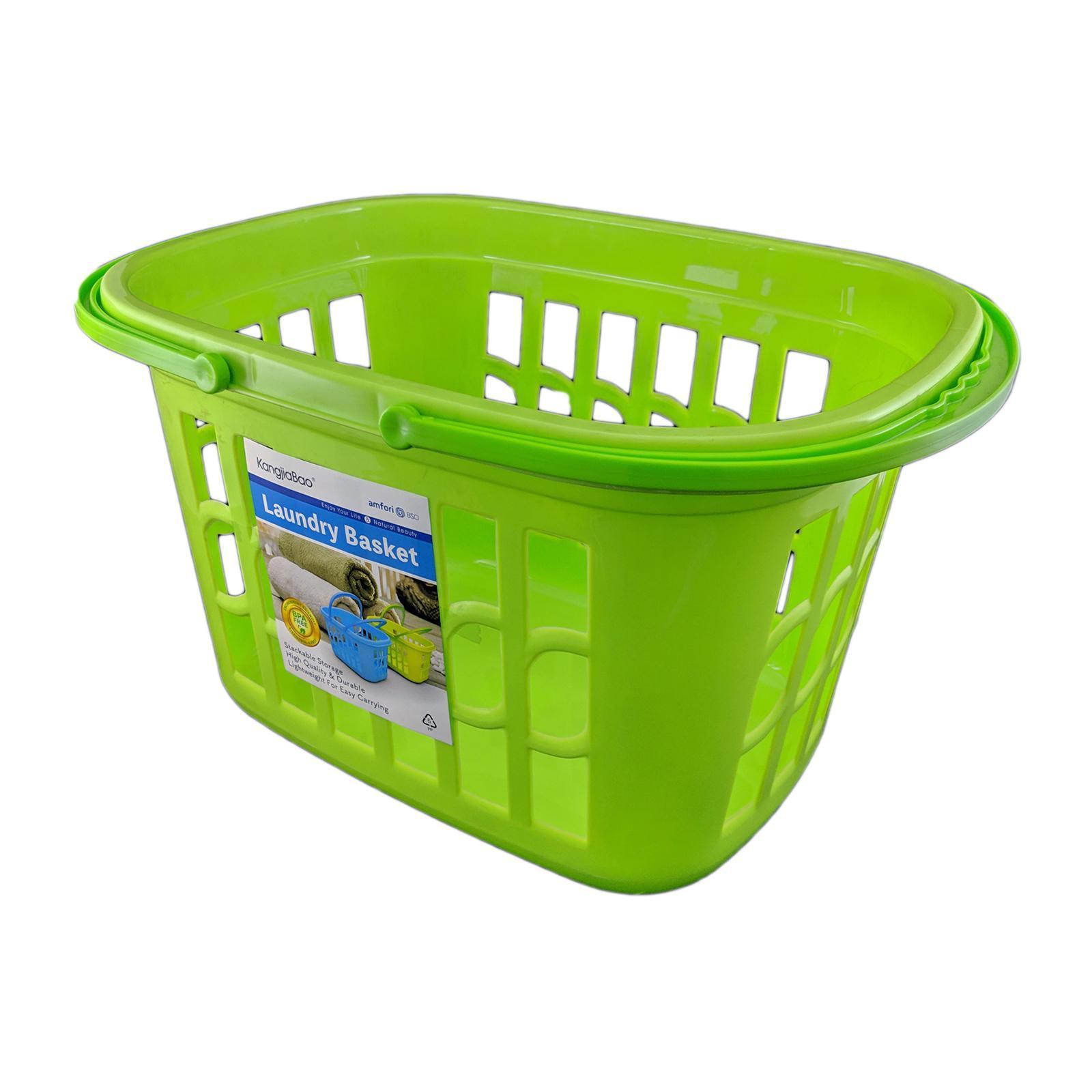 KangjiaBao Plastic Laundry Basket ( 40 X 28 X 23 CM ) (Green)