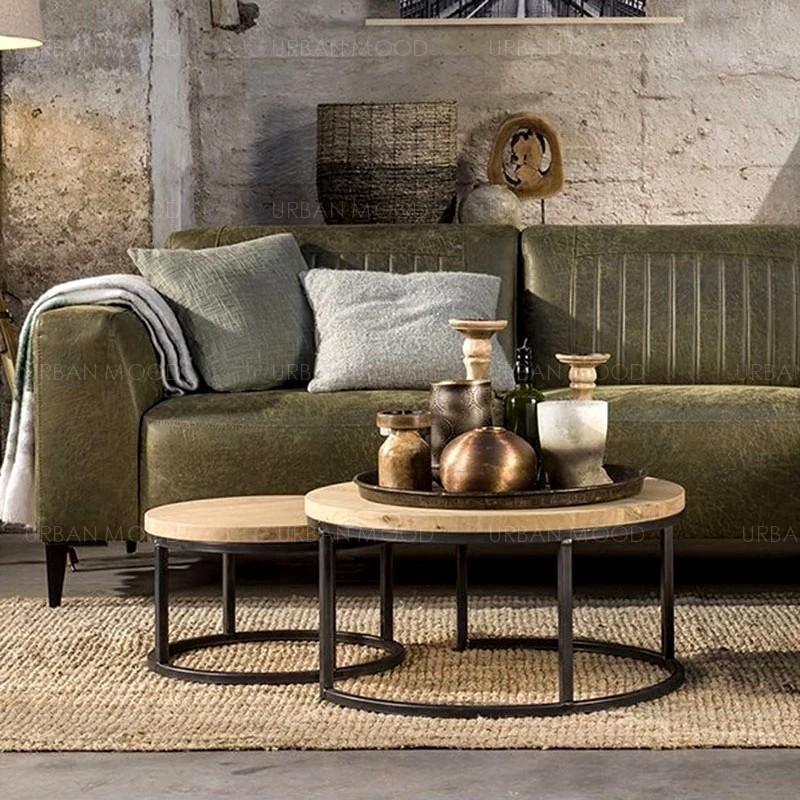 ROMER Modern Industrial Rustic Wood Coffee Table