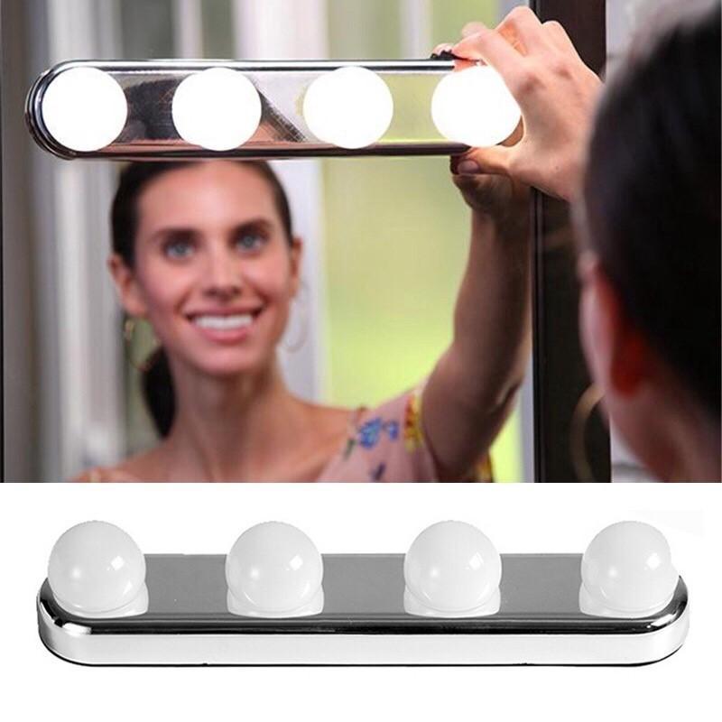 4 LED Bulbs Make Up Mirror Light Battery Powered Studio Glow Vanity Make Up Light Super Bright