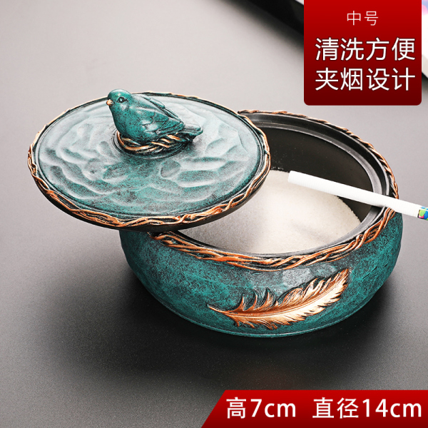 Ash Tray Lid Home Living Room Creative Cool Trend Office Chinese Style Retro Large Size-Fly Ash Ashtray