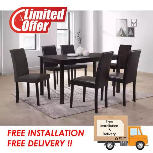 [Furniture Amart] Solid Wooden Dining Set Table Chair PVC cushion seats (Free Install)
