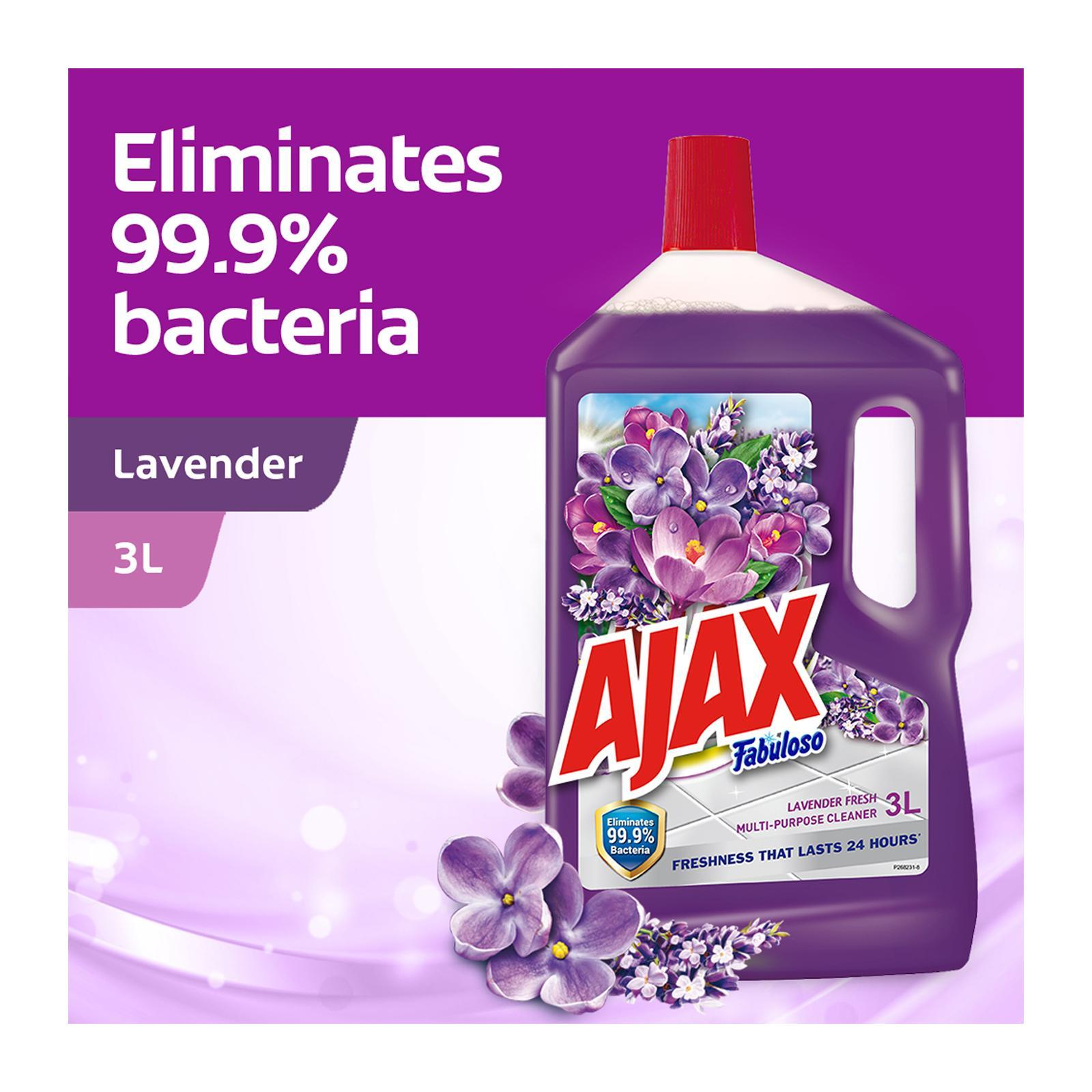 Ajax Fabuloso Lavender Antibacterial Multi Purpose Floor Cleaner 3L