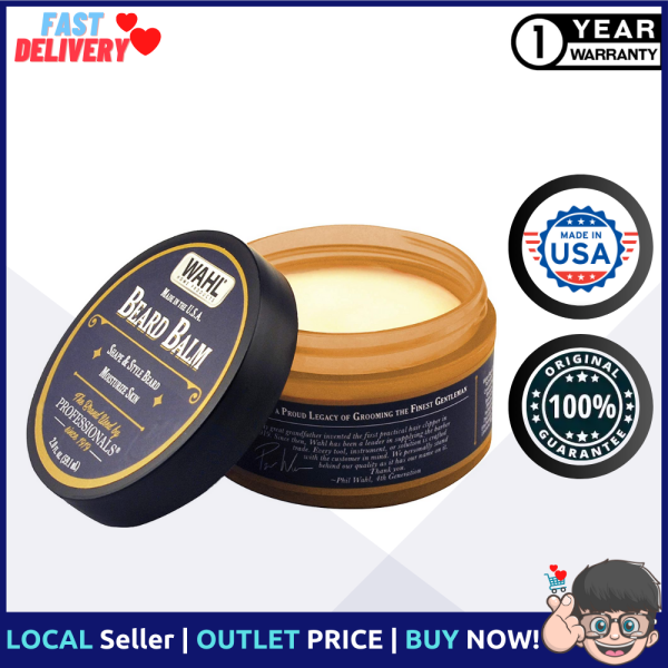 Buy WAHL Beard Balm for Grooming with Essential Oils for Beard Shine, Polishing & Styling – Manuka Oil, Meadowfoam Seed Oil, Clove Oil & Moringa Oil – 2 Oz Singapore