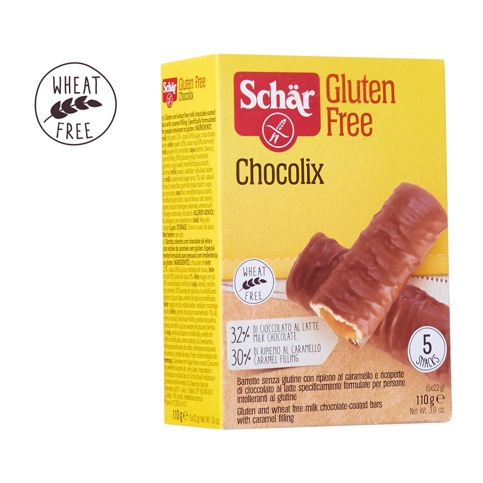 Dr. Schar CHOCOLIX Milk Chocolate Coated Shortbread Biscuit Bars with Caramel Filling - Gluten Free by Agora Products