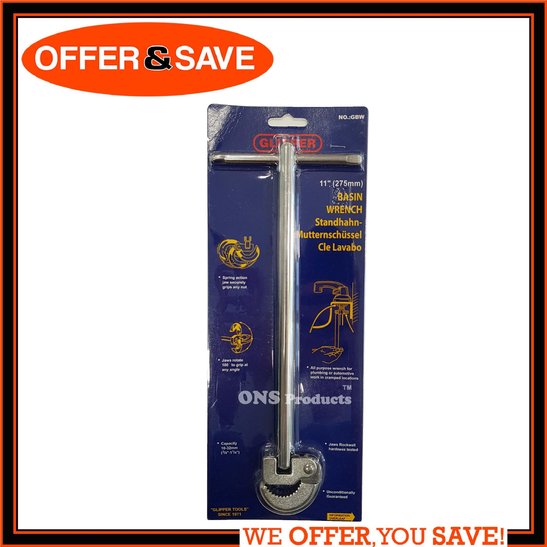 GLIPPER 12 T-Shape Handle Adjustable Basin Wrench / Sink Tap Spanner for Bathroom Plumber GBW