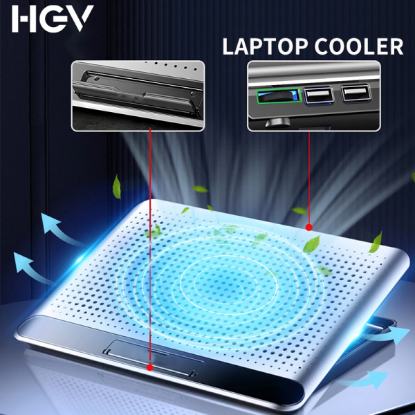 HGV Aluminum Alloy Laptop Cooler Adjustable Laptop Cooling Pad Notebook Gaming Cooler Stand with Strong Big Fan and 2 USB Ports for 12-17inch Laptop