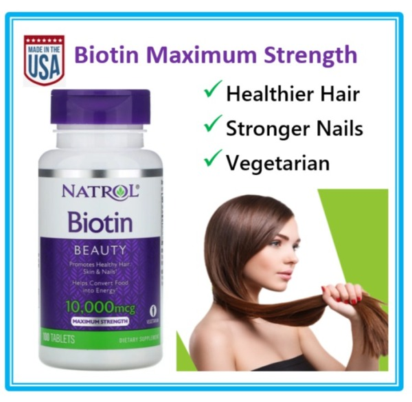Buy [SB] Natrol Biotin 10,000mcg Maximum Strength, Beauty Hair,Skin,Nail, 100 Veggie Tablets Singapore