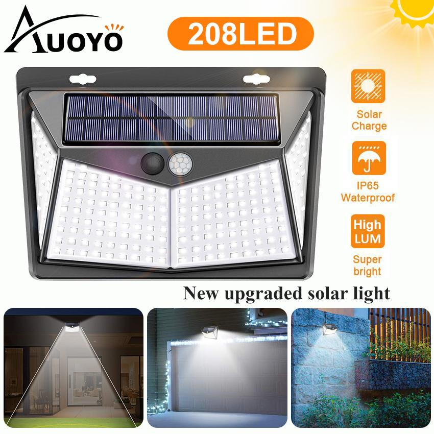 Auoyo 208LED Solar Lights Outdoor Lighting Wireless Sensor Solar Lights Outdoor 270° Wide Angle Lamp IP65 Waterproof for Yard Garage Deck Pathway Porch