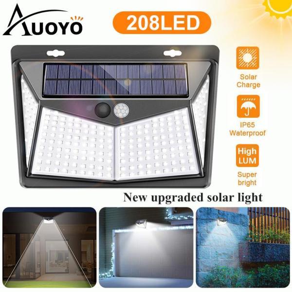 Auoyo 208Đèn Năng Lượng Mặt Trời Outdoor Lighting Wireless Sensor Solar Lights Outdoor 270?Wide Angle ĐÈN BÀN IP65 Waterproof for Yard Garage Deck Pathway Porch