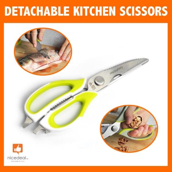 Detachable Kitchen Scissors - Green/White