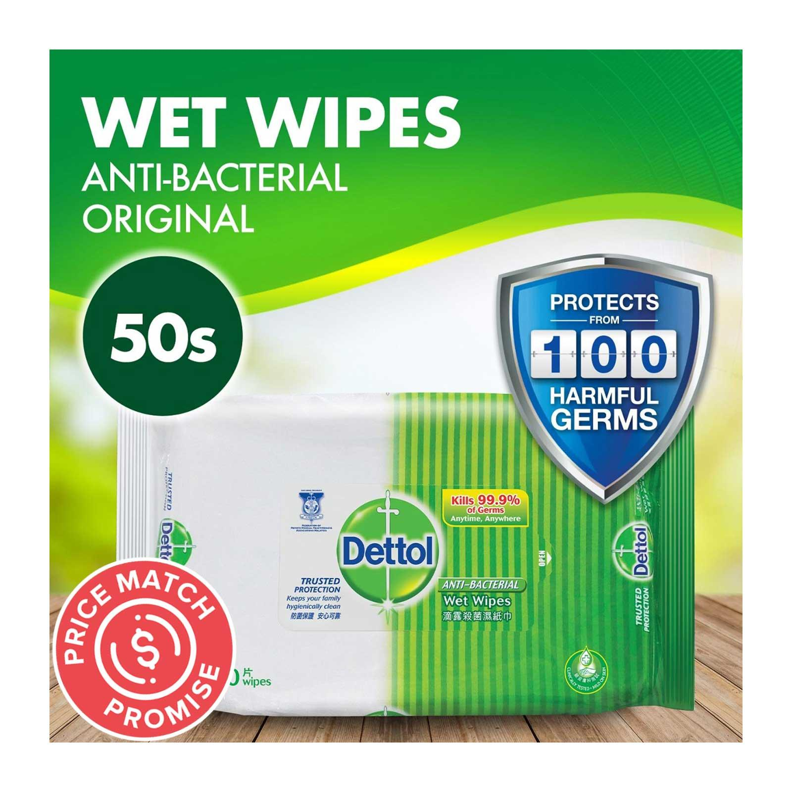 Dettol Anti-Bacterial Wet Wipes x50
