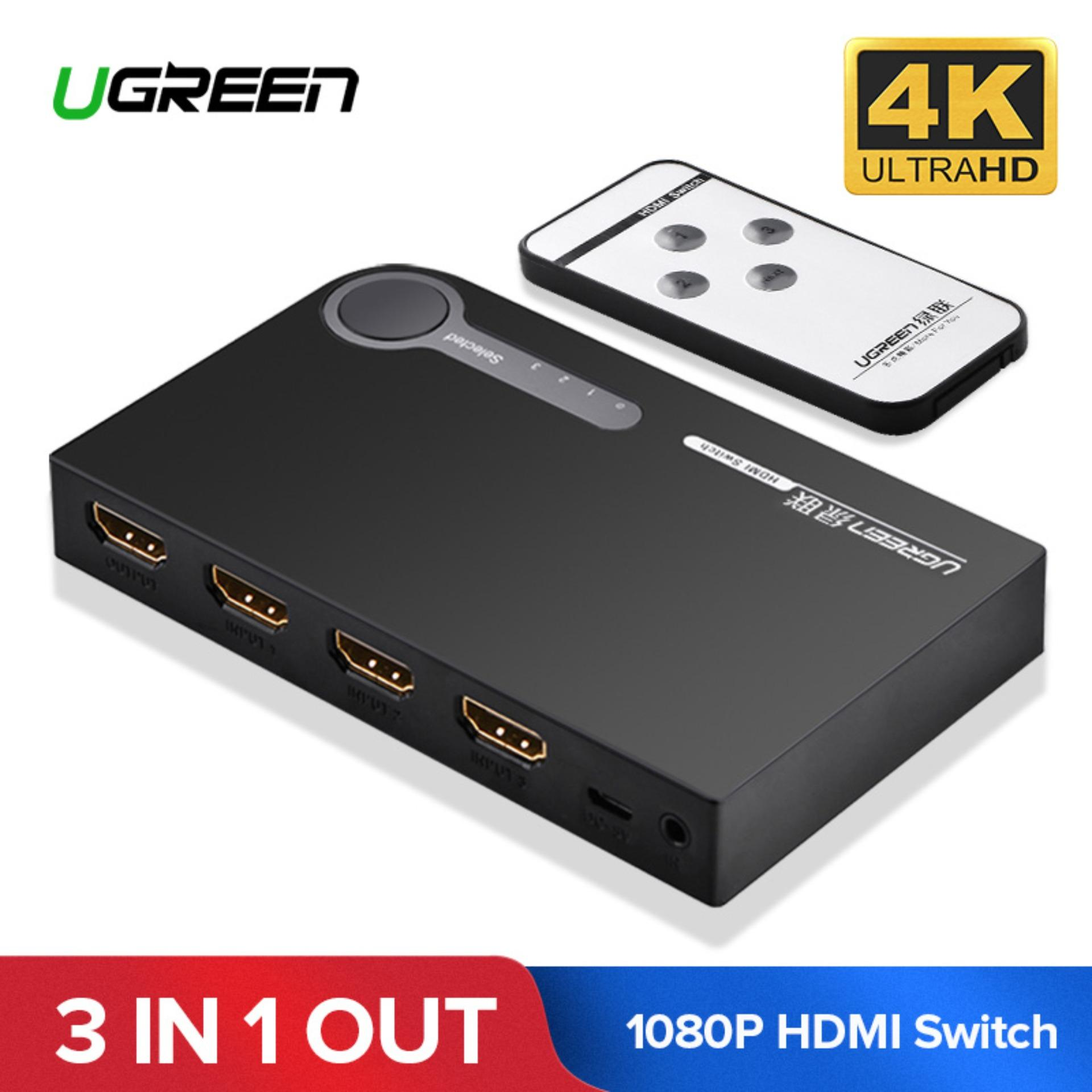 UGREEN HDMI Splitter 3 Port HDMI Switch Switcher HDMI Port 1080P 3 Input 1  Output 4K Adapter with Remote Controller for XBOX 360 PS3 PS4 Android HDTV