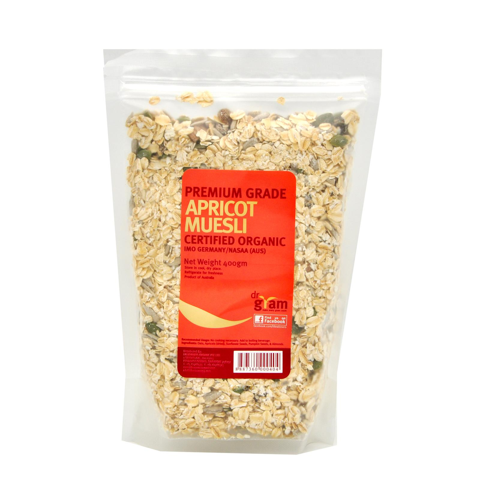 Dr Gram Organic Apricot Muesli 400g (3 Packets) By Lifewinners Organic & Fine Foods.