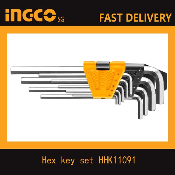 INGCO HHK11091 9pcs Hex Key Set, Cr-V, 1.5-10mm