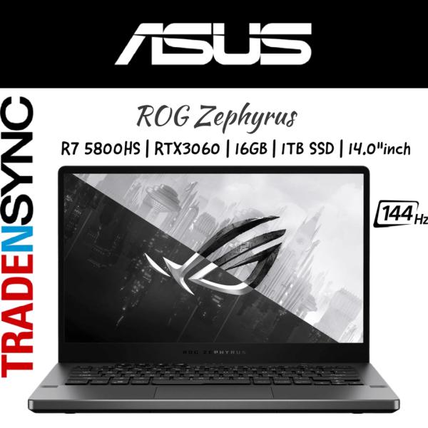 NEW! | ASUS ROG Zephyrus | GA401QM-RTX3060 | AMD Ryzen 7 5800HS | 16GB RAM | 1TB SSD | RTX 3060 with 6GB GDDR6 | 14.0FHD 144Hz | 1.7KG | W10 HOME | 2YR WARRANTY | ROG Zephyrus G14 GA401QM-RTX3060 with AniMe Matrix™