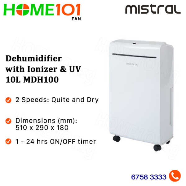 Mistral Dehumidifier with Ionizer and UV 10L MDH100 Singapore