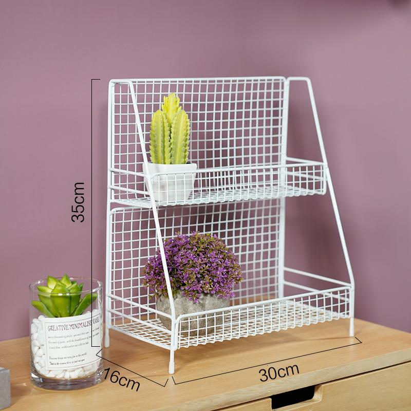 Golden INS Cosmetics Dormitory Frame Multilayer Girls Storage Heart Table Kitchen Desktop Storage Wrought Iron Rack Useful Product