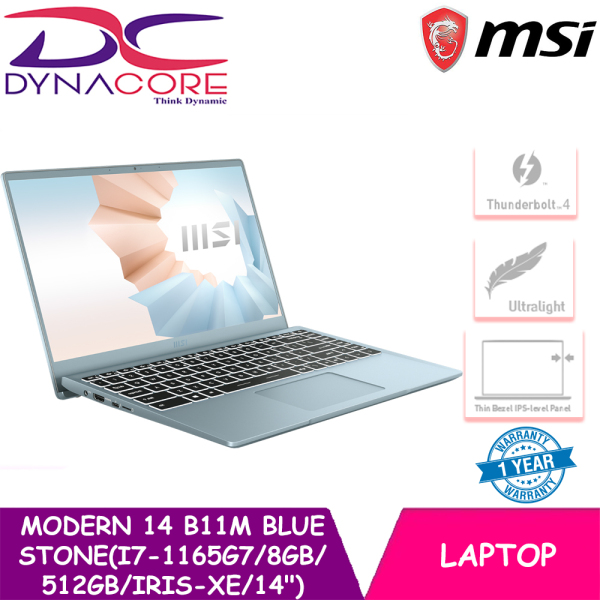 DYNACORE - MSI Modern 14 B11M Laptop (i7-1165G7 | 8GB DDR4 | 512GB SSD | Intel Iris XE Graphics | 14 FHD | W10 -1YEAR WARRANTY BY MSI (9S7-14D212-046)
