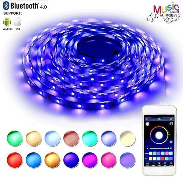 16 Million Colors Bluetooth APP DIY Controller RGB 5050 LED Strip Light, LED Lights Sync To Music 5M/10M LED Strip High Sensitive Mic Controller+12V Power Adapter