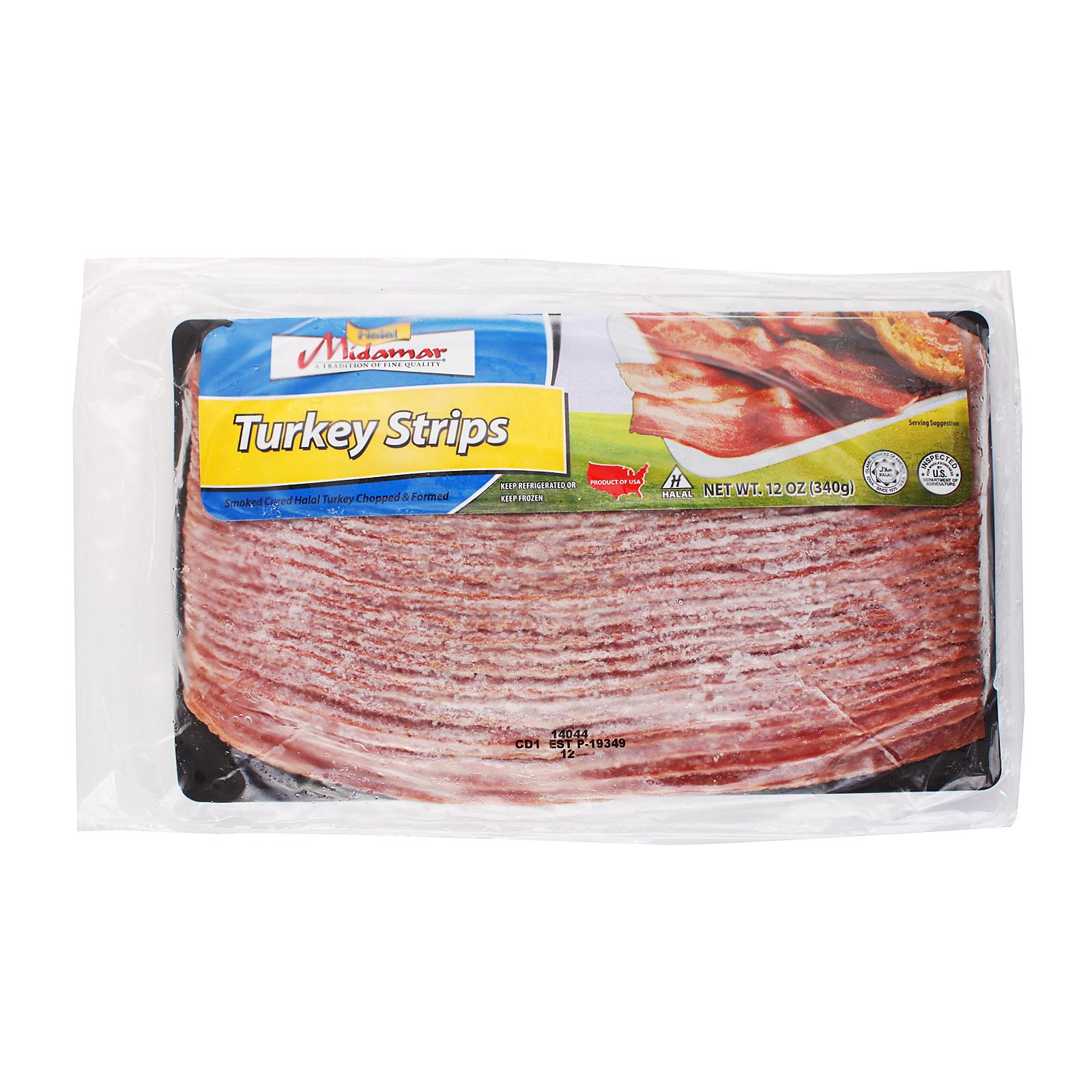 Midamar Turkey Bacon Strip Sliced - Frozen
